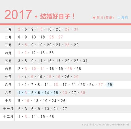 2017結婚好日子!106年宜嫁娶的黃道吉日