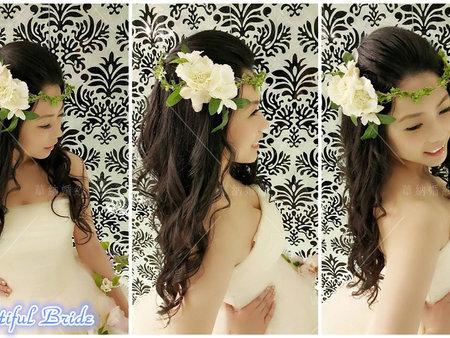 花飾的髮型分享~3種花圈裝扮