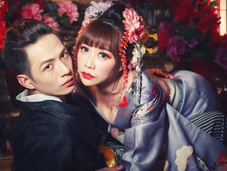 穿越日本古代!穿上「花魁系」婚紗 來場突破自我的約會吧❤